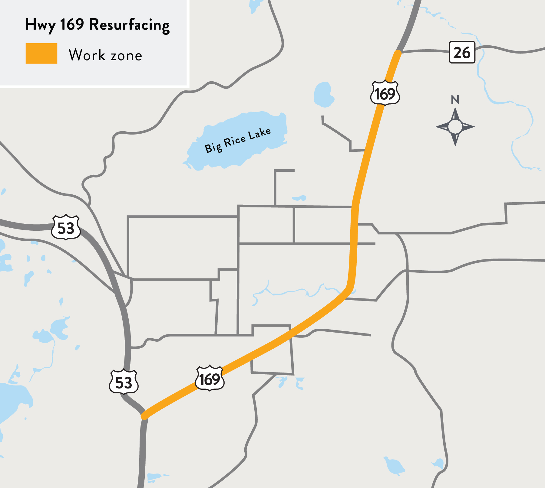 A map of the Hwy 169 resurfacing project area on Hwy 169 between Hwy 53 and Hwy 26