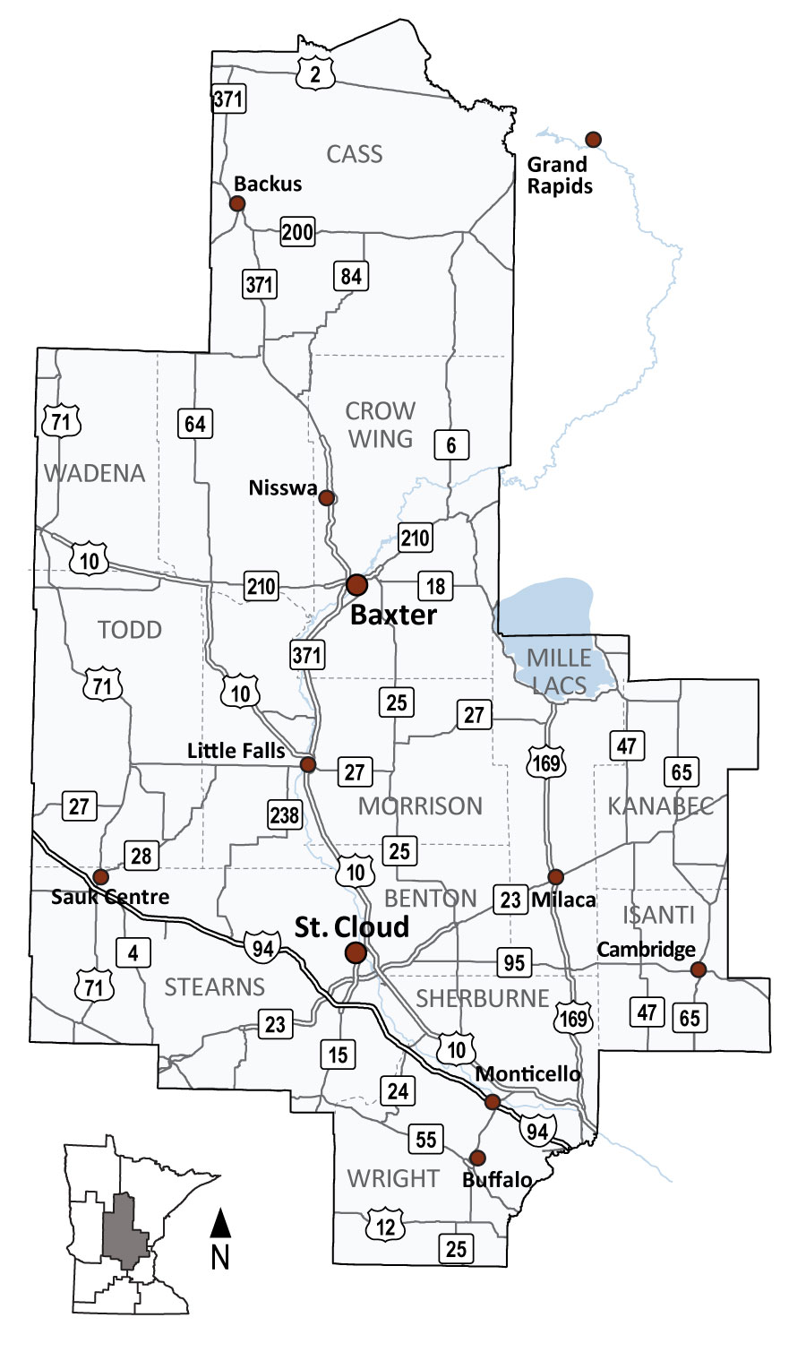 Map of MnDOT District 3, covering Central Minnesota