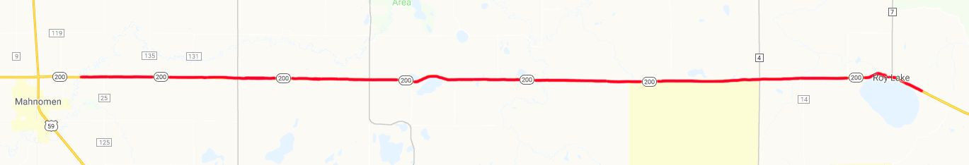 Highway 200 constuction map from Mahnomen to Roy lake.