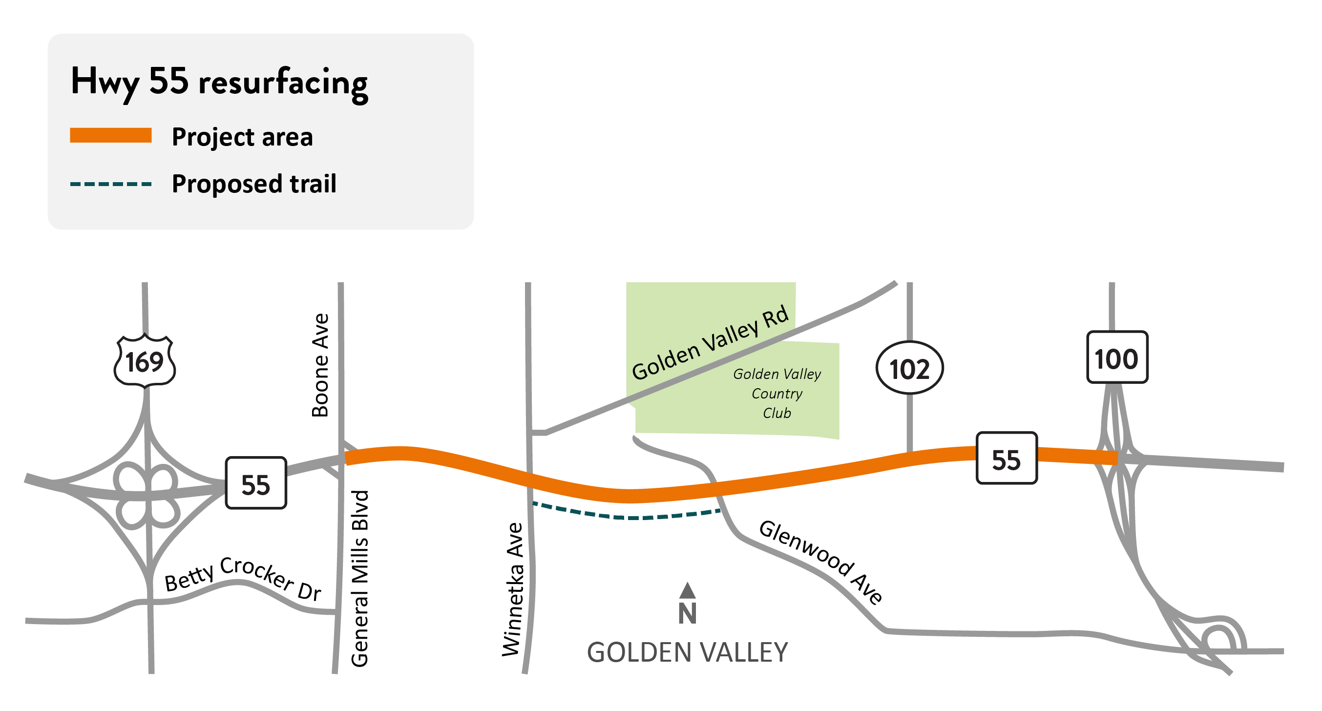 Highway 55 in Golden Valley project location map